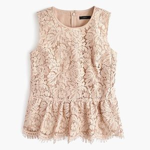 J. Crew Black Label Lace Peplum Top In Faded Teak